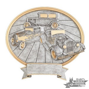 Hot Rods Large Pewter Resin Plaque Trophy