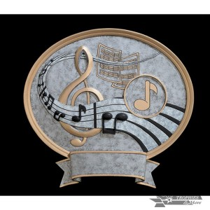 Music Small Pewter Resin Plaque Trophy