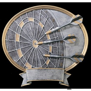 Darts Small Pewter Resin Plaque Trophy