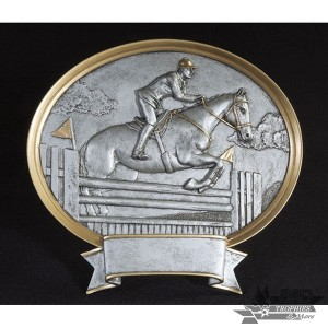 Equestrian Large Pewter Resin Plaque Trophy - Male