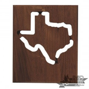 10x12 Solid Walnut Cut-Out State Plaque - All States Available