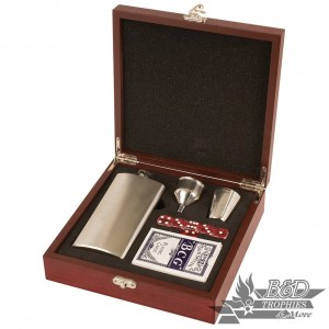 Rosewood Finish Flask Set (includes flask, funnel, shot glass, deck or cards & 5 Dice)