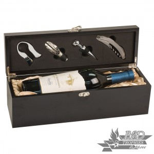 Matte Black Finish Single Wine Presentation Box with Tools (wine not included)
