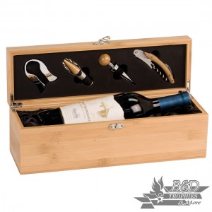 Solid Bamboo Finish Single Wine Presentation Box with Tools (wine not included)