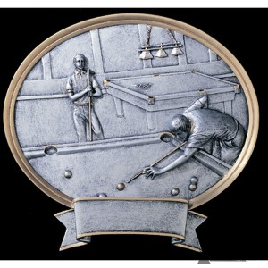 Pool Small Pewter Resin Plaque Trophy - Male