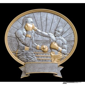 Boxing Large Pewter Resin Plaque Trophy