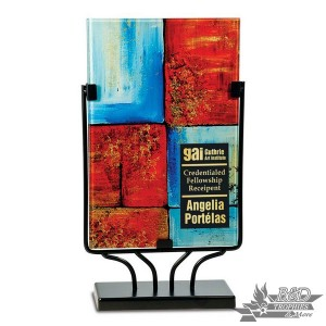 Multi-Colored Rectangular Art Glass Award with Metal Base (Style 2)