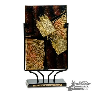 Multi-Colored Rectangular Art Glass Award with Metal Base (Style 4)
