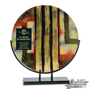 Multi-Colored Round Art Glass Award with Metal Base (Style 1)