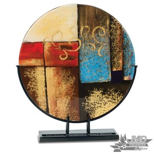Multi-Colored Round Art Glass Award with Metal Base (Style 2)