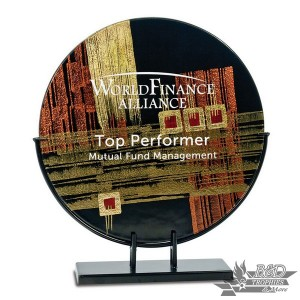 Multi-Colored Round Art Glass Award with Metal Base (Style 3)