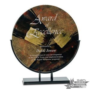 Multi-Colored Round Art Glass Award with Metal Base (Style 4)
