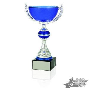 Blue and Silver Glass Cup Trophy