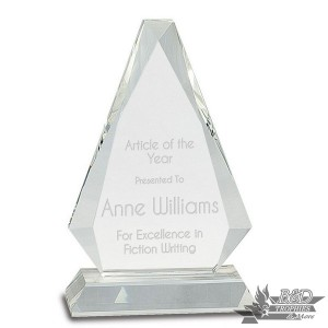 Clear Crystal Triangle Award on Clear Pedestal Base