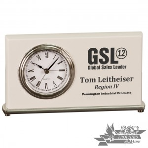 Horizontal Desk Clock - White Piano Finish