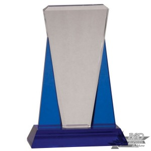 Blue and Clear Wedge Crystal Award on Blue Pedestal Base
