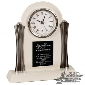 Desk Clock with Silver Metal Columns - White Piano Finish