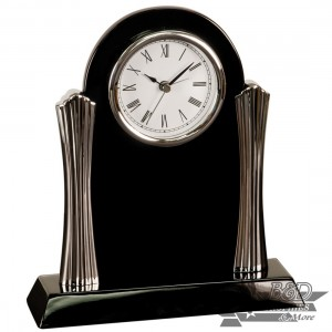 Desk Clock with Silver Metal Columns - Black Piano Finish