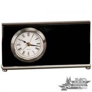 Horizontal Desk Clock - Black Piano Finish