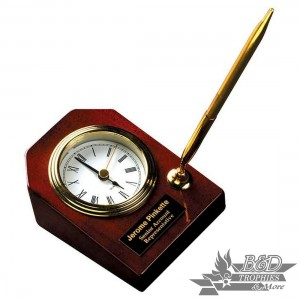 Desk Clock with Pen - Rosewood Piano Finish
